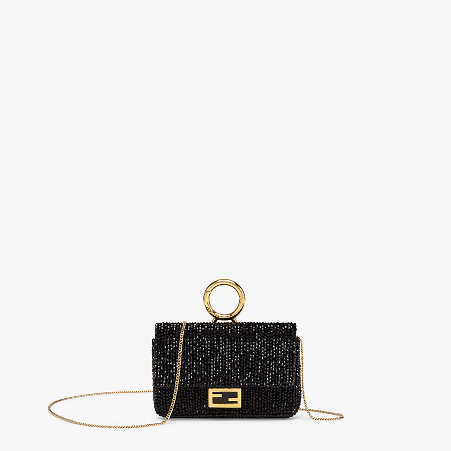 FENDI NANO BAGUETTE CHARM - Charm with black crystals - view 1 detail