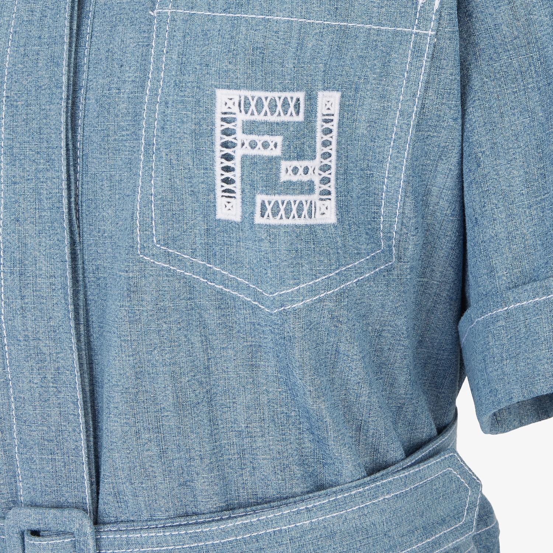 FENDI JUMPSUIT - Light blue chambray jumpsuit - view 3 detail