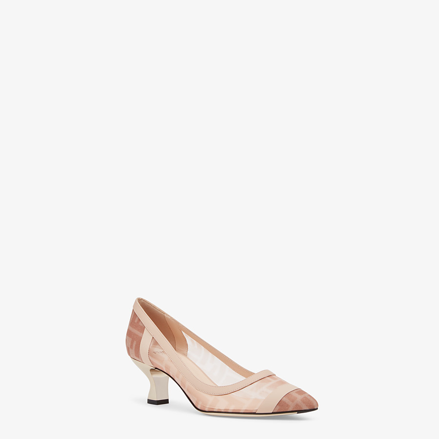 FENDI SLINGBACKS - Colibrì in pink mesh and nude leather - view 2 detail