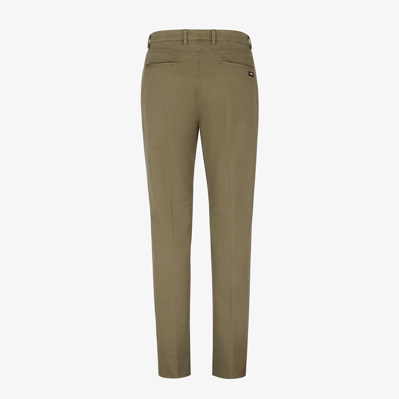 FENDI TROUSERS - Green gabardine trousers - view 2 detail
