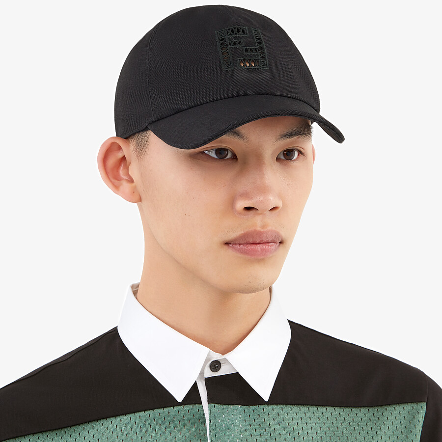 FENDI HAT - Black canvas baseball cap - view 3 detail