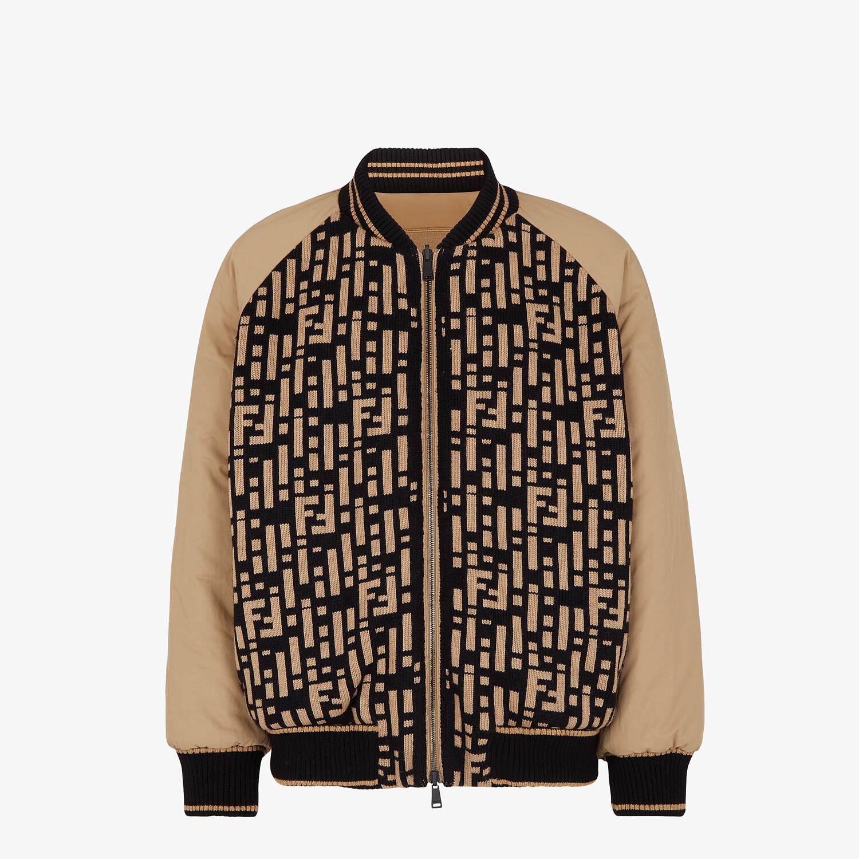 FENDI JACKET - Multicolor nylon and knit bomber jacket - view 1 detail