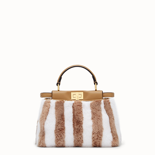 FENDI PEEKABOO ICONIC MINI - White mink bag - view 1 small thumbnail