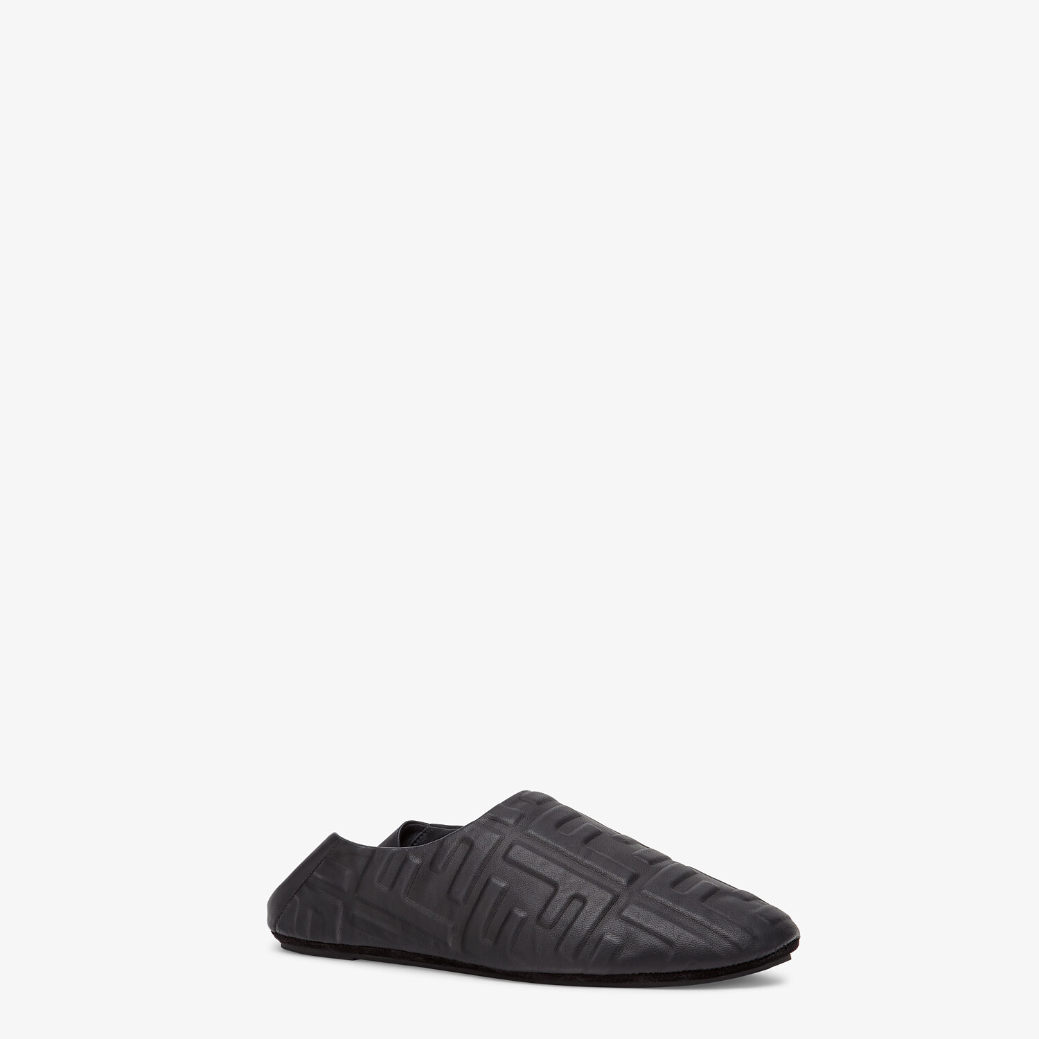 FENDI SIGNATURE - Black nappa leather slippers - view 2 detail