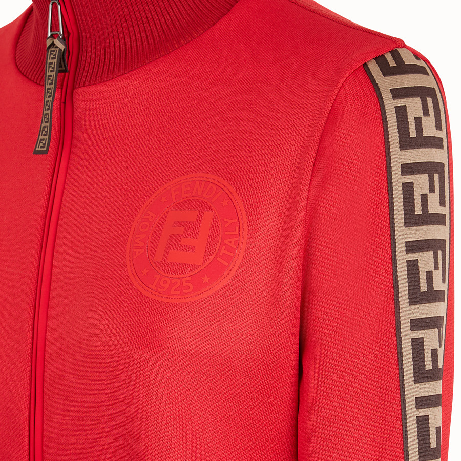 FENDI SWEATSHIRT - Red jersey sweatshirt - view 3 detail