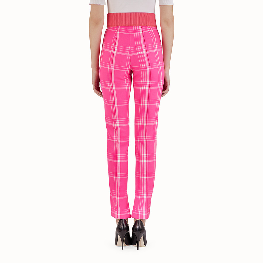 FENDI TROUSERS - Fuchsia tartan wool trousers - view 2 detail