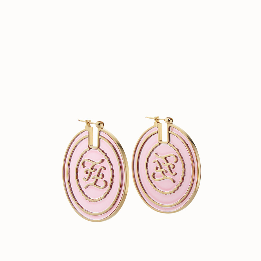 FENDI KARLIGRAPHY EARRINGS - Gold and white colored earrings - view 1 detail
