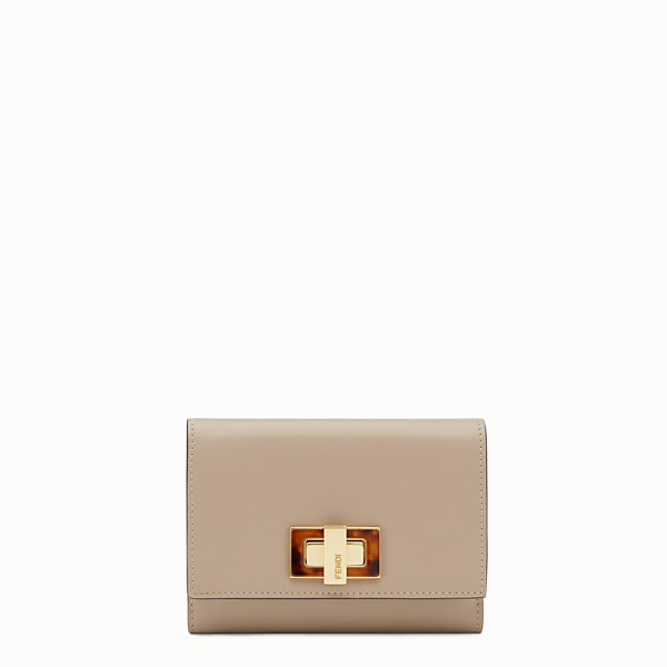 FENDI PEEKABOO WALLET - Medium continental wallet in dove-gray leather - view 1 small thumbnail
