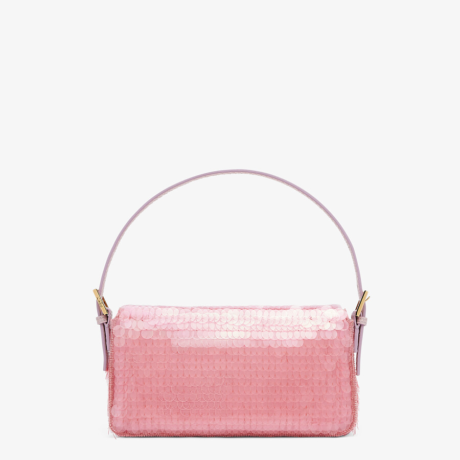 FENDI BAGUETTE 1997 - Pink satin bag with sequins - view 4 detail