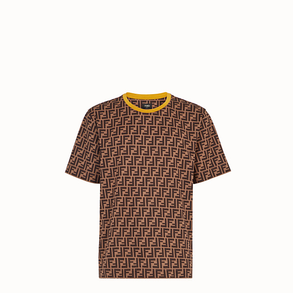 FENDI T-SHIRT - Brown cotton T-shirt - view 1 small thumbnail
