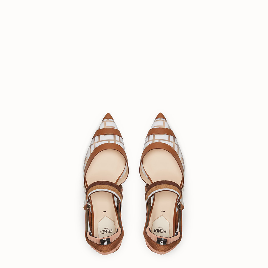 FENDI SLINGBACKS - Colibrì in PU and white leather - view 4 detail