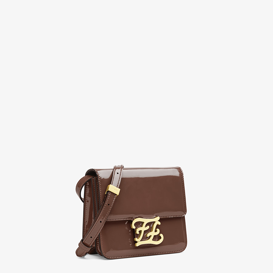 FENDI KARLIGRAPHY - Brown patent leather bag - view 3 detail