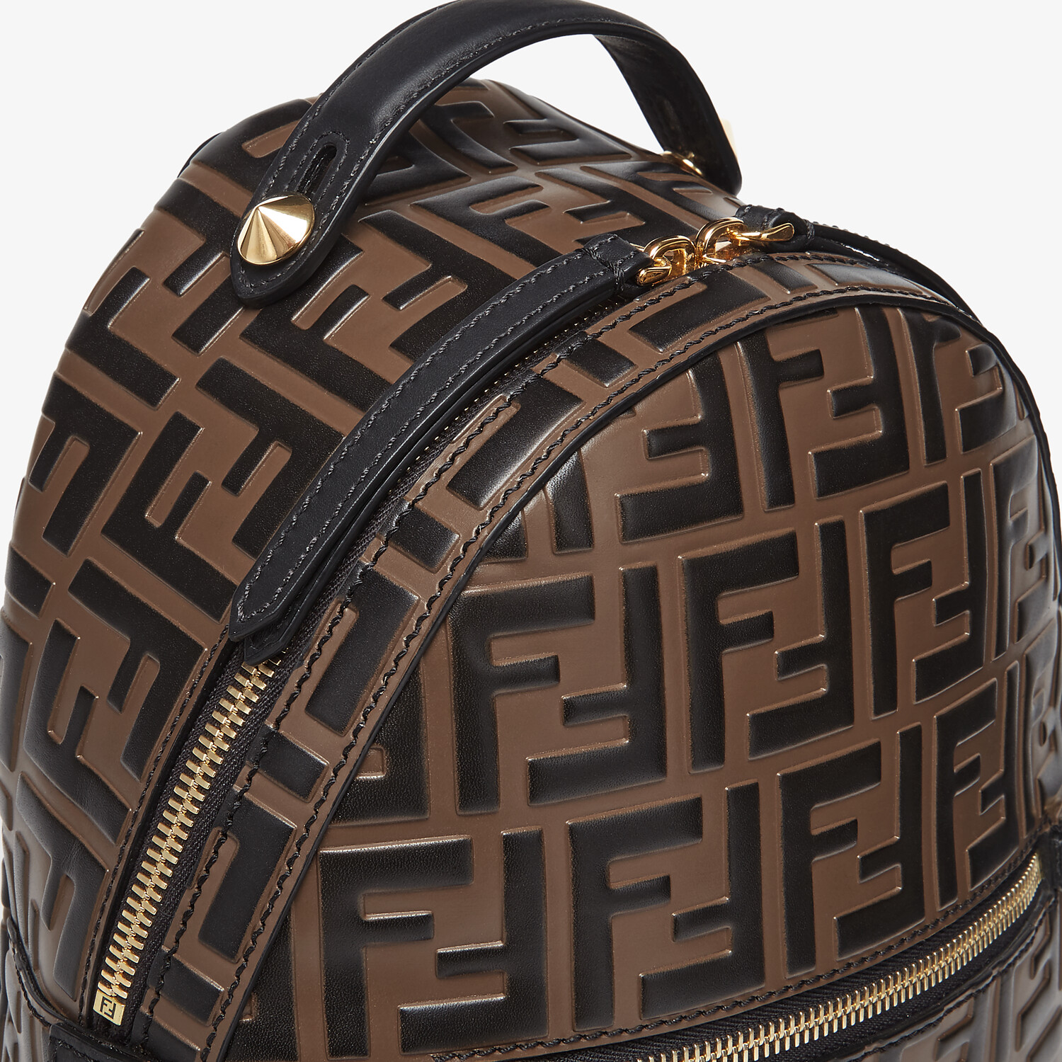 FENDI MINI BACKPACK - Brown leather FF backpack - view 4 detail