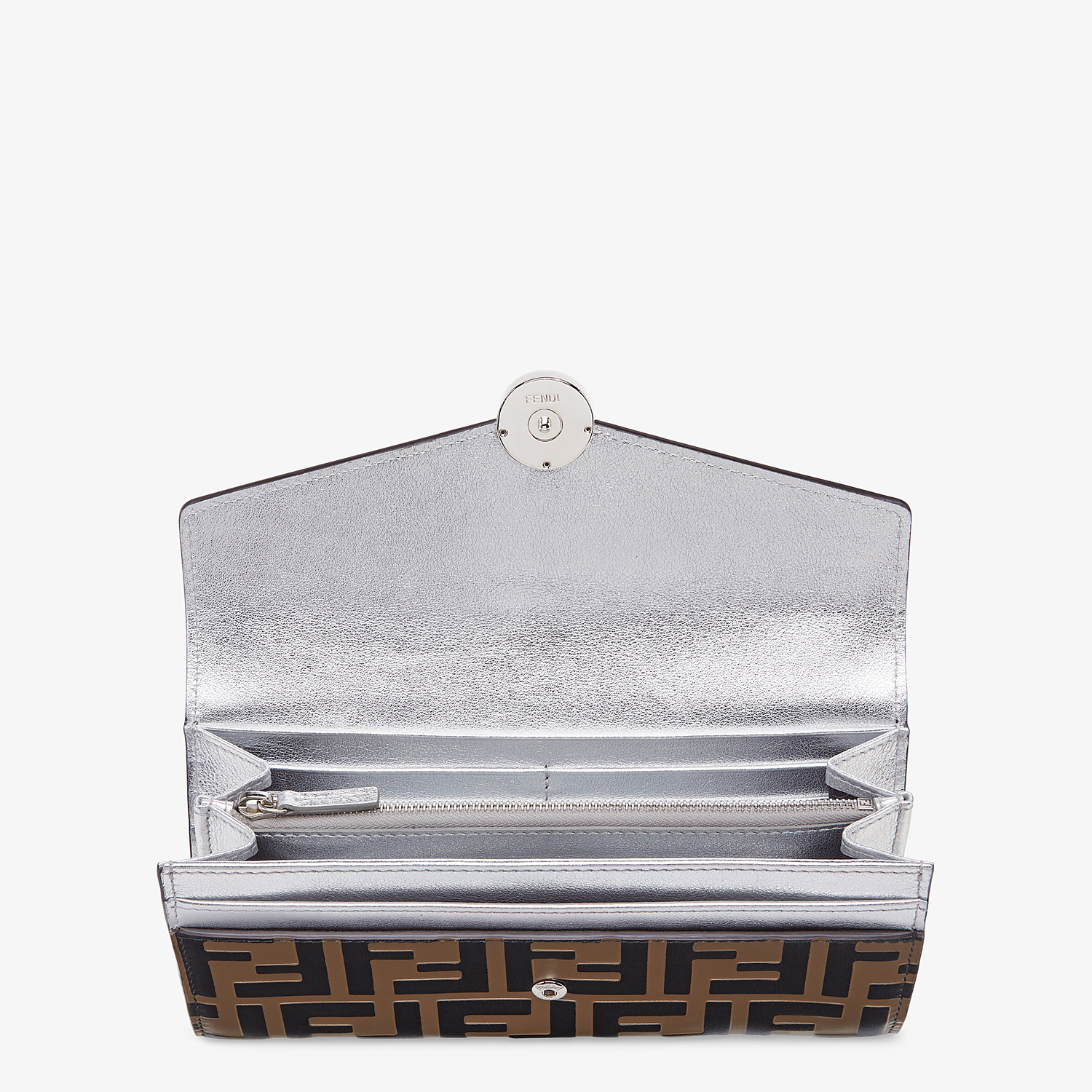 FENDI CONTINENTAL - Silver leather wallet - view 3 detail
