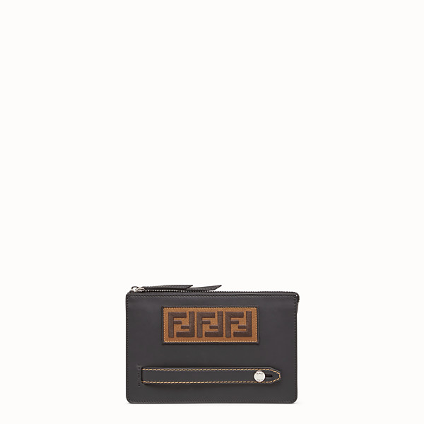 FENDI CLUTCH - Black leather slim pouch - view 1 small thumbnail