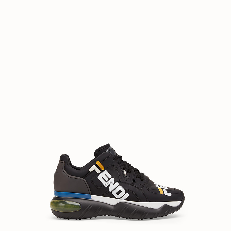 FENDI SNEAKERS - Black nappa leather low tops - view 1 detail