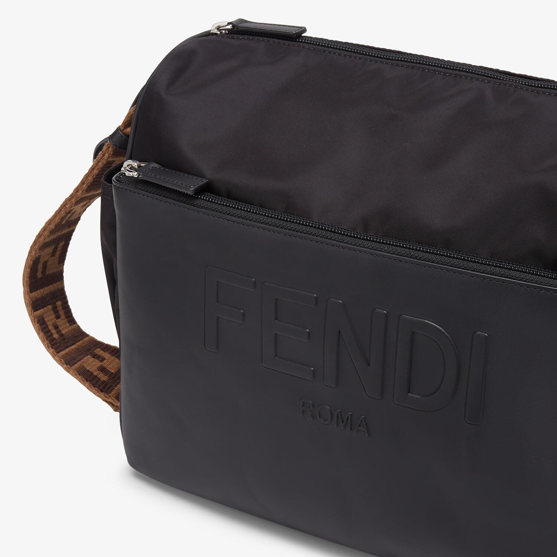 FENDI DIAPER BAG - Black leather and nylon diaper bag - view 6 detail