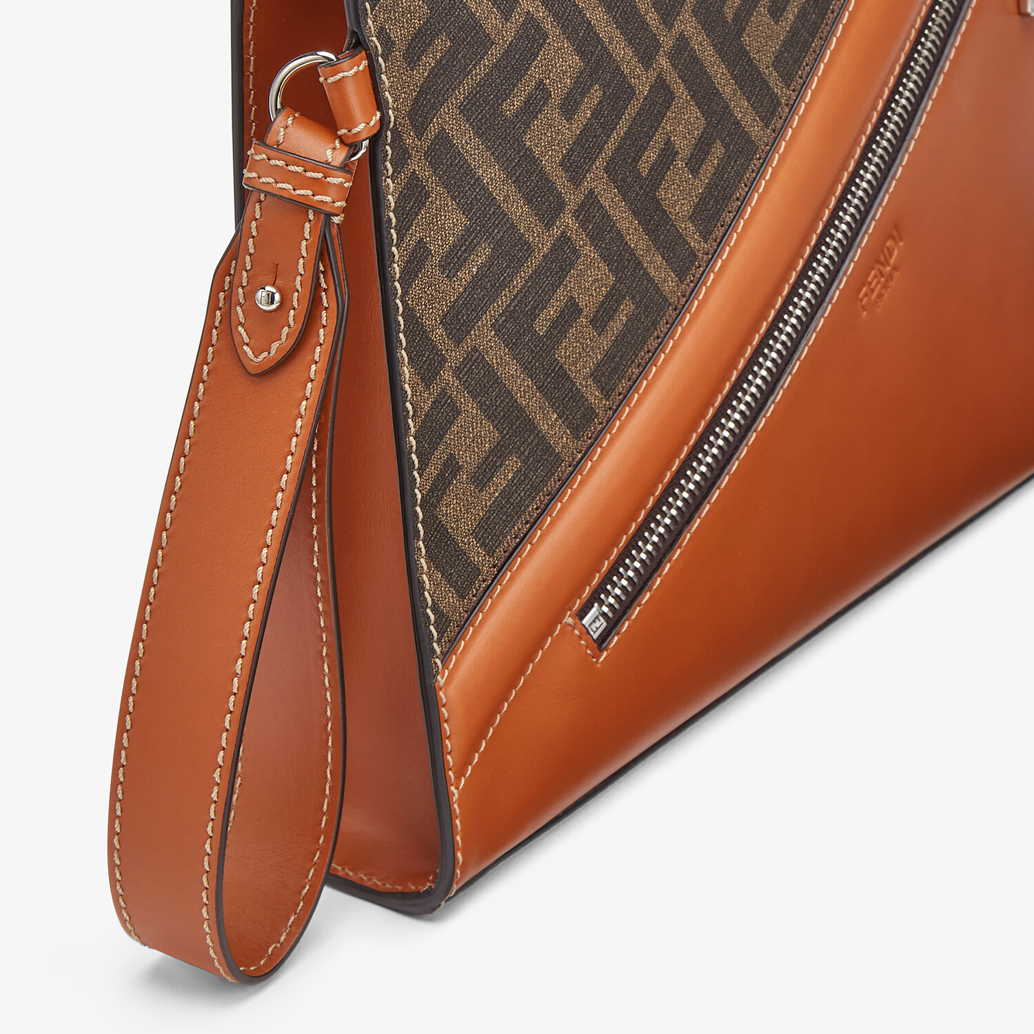 FENDI FLAT POUCH - Brown fabric pouch - view 5 detail