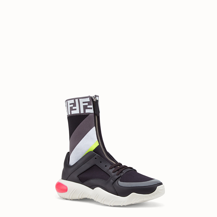 FENDI SNEAKERS - Multicolour tech fabric high-tops - view 2 detail