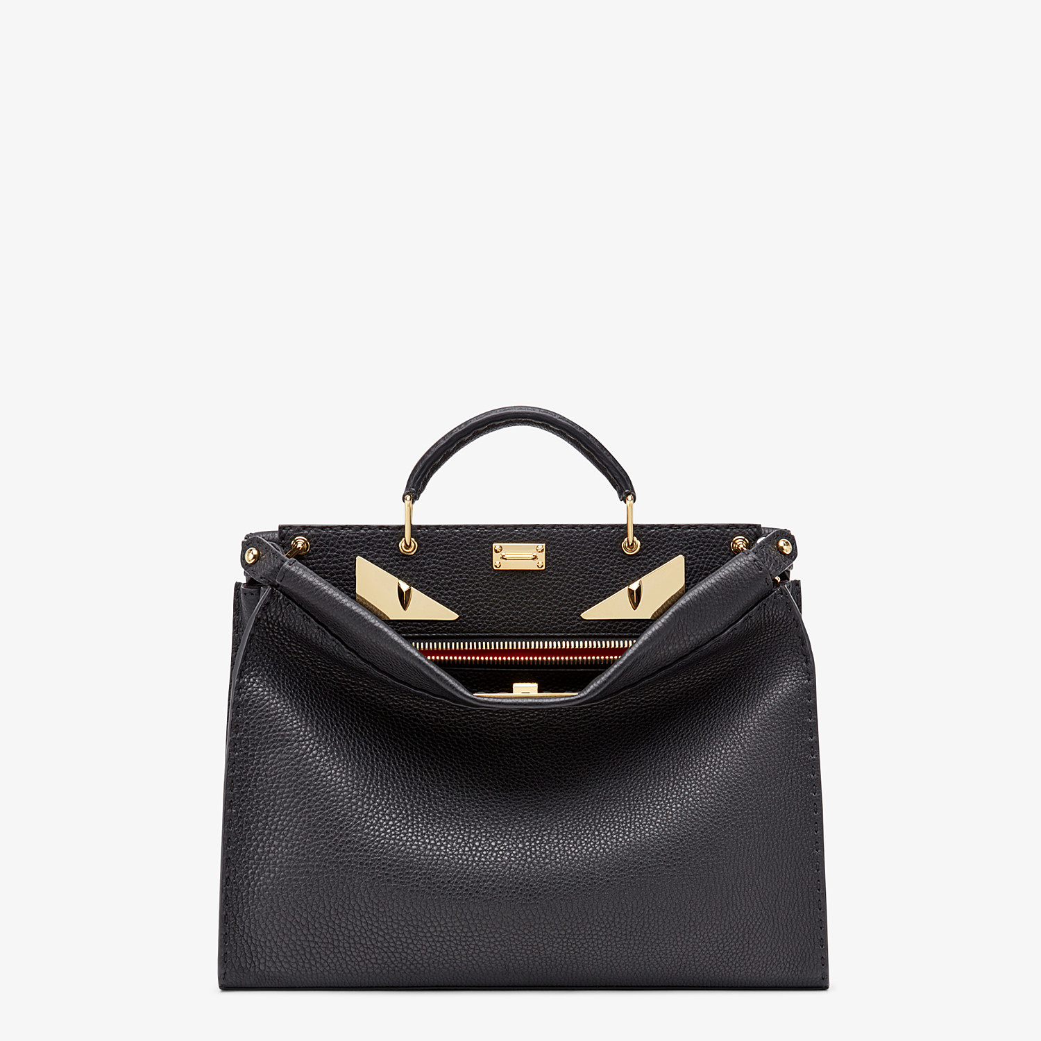 FENDI PEEKABOO ICONIC FIT - Black Roman leather bag - view 1 detail