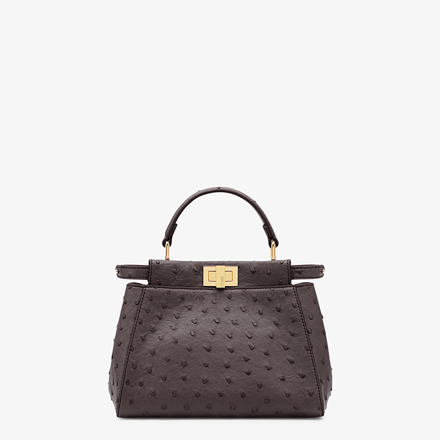 FENDI PEEKABOO ICONIC MINI - Brown ostrich leather bag - view 1 detail