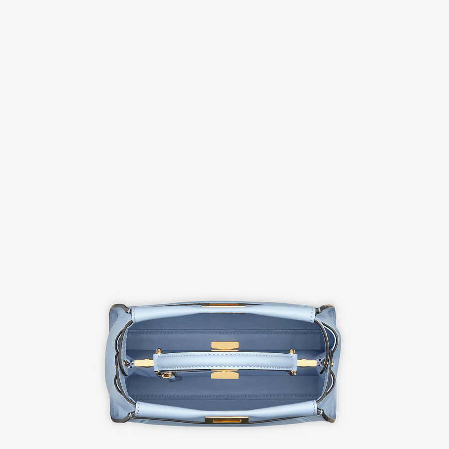 FENDI PEEKABOO ICONIC MINI - Light blue leather bag with embroidery - view 5 detail