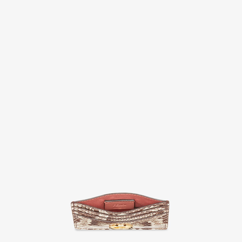 FENDI PORTACARTE - Portacarte piatto in pelle beige ed esotico - vista 4 dettaglio