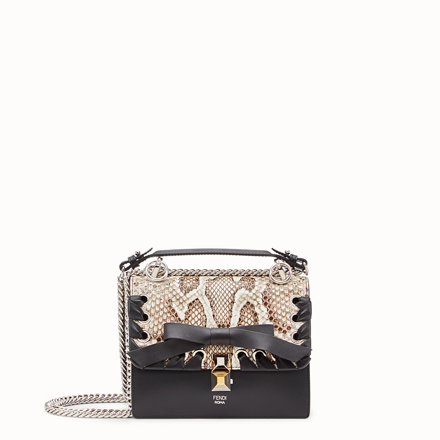 FENDI KAN I SMALL - Black leather mini-bag with exotic details - view 1 detail