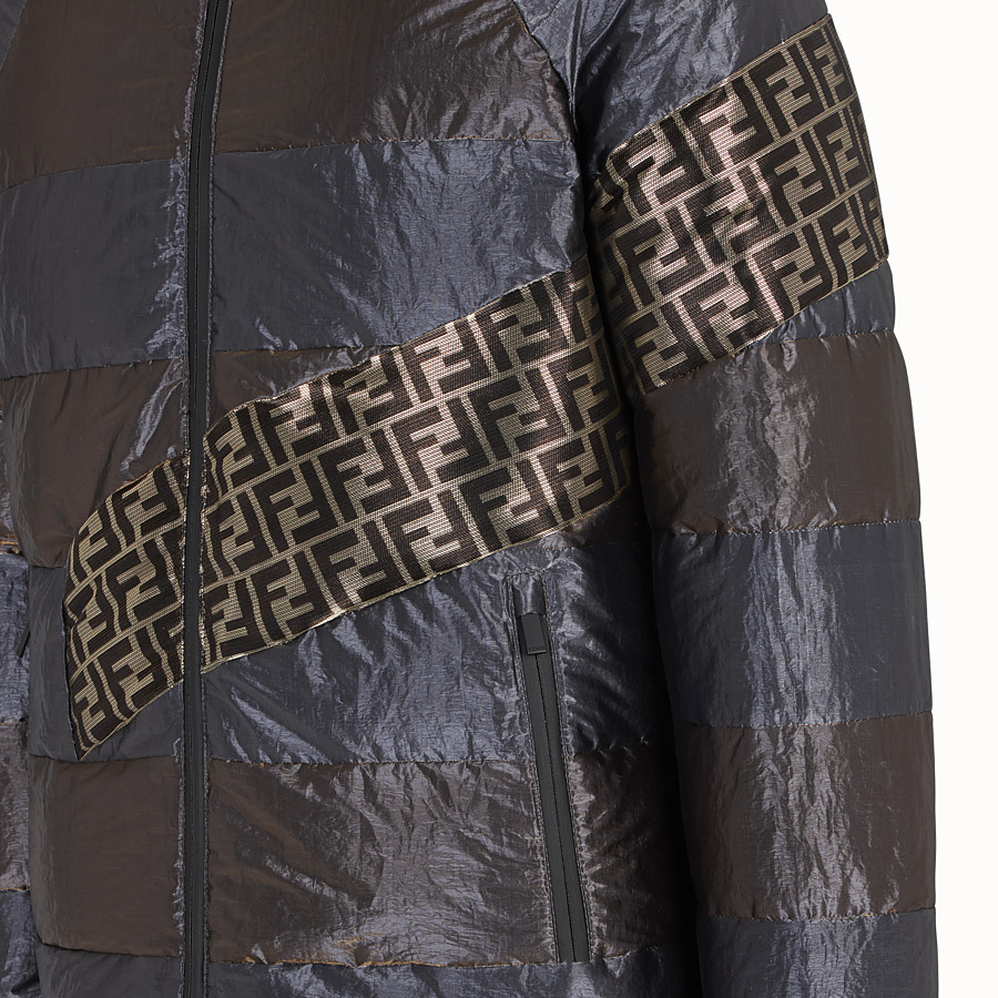 FENDI DOWN JACKET - Metallic tech fabric padded jacket - view 3 detail