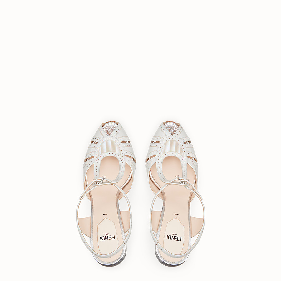 FENDI SANDALS - Gray leather sandals - view 4 detail