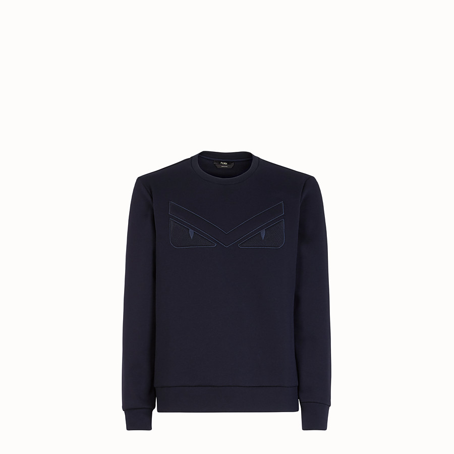 FENDI SWEATSHIRT - Blue cotton sweatshirt - view 1 detail