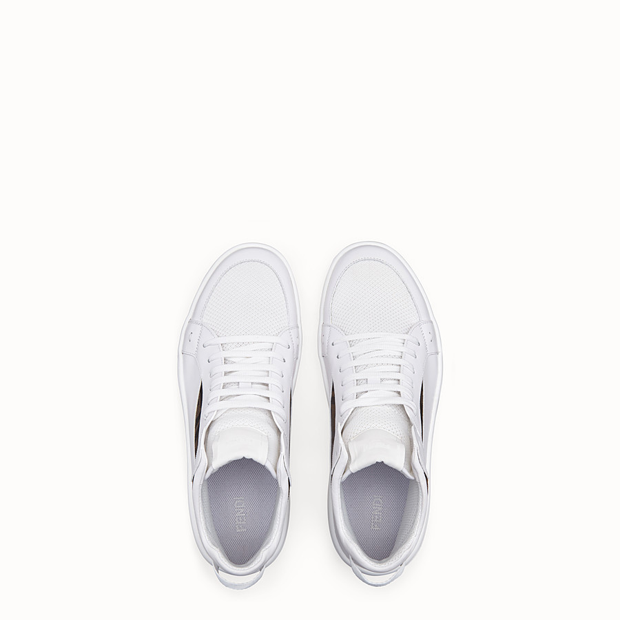 FENDI SNEAKERS - White leather mid tops - view 4 detail
