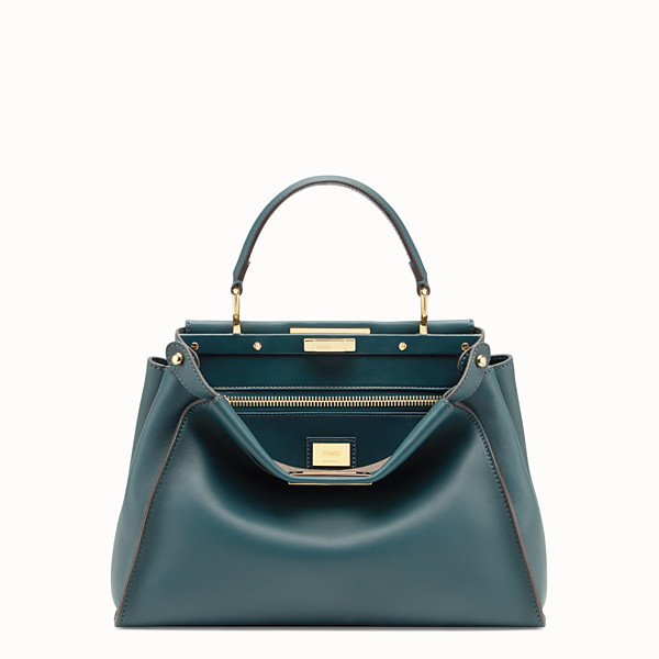 FENDI PEEKABOO REGULAR - Borsa in pelle verde - vista 1 thumbnail piccola