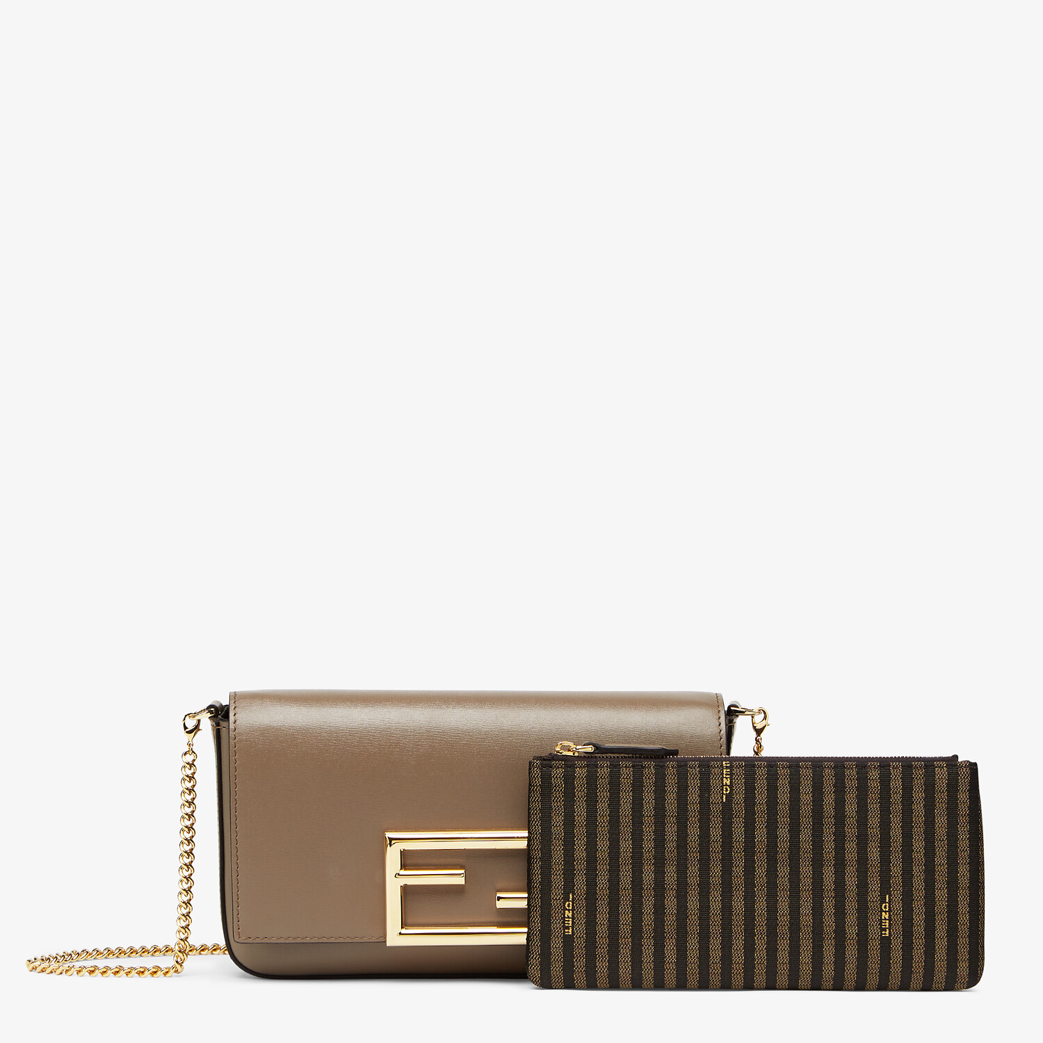 FENDI WALLET ON CHAIN WITH POUCHES - Grey leather mini-bag - view 2 detail