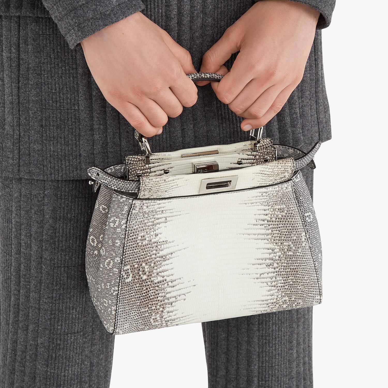 FENDI PEEKABOO ICONIC MINI - Gray gradient lizard leather bag - view 2 detail