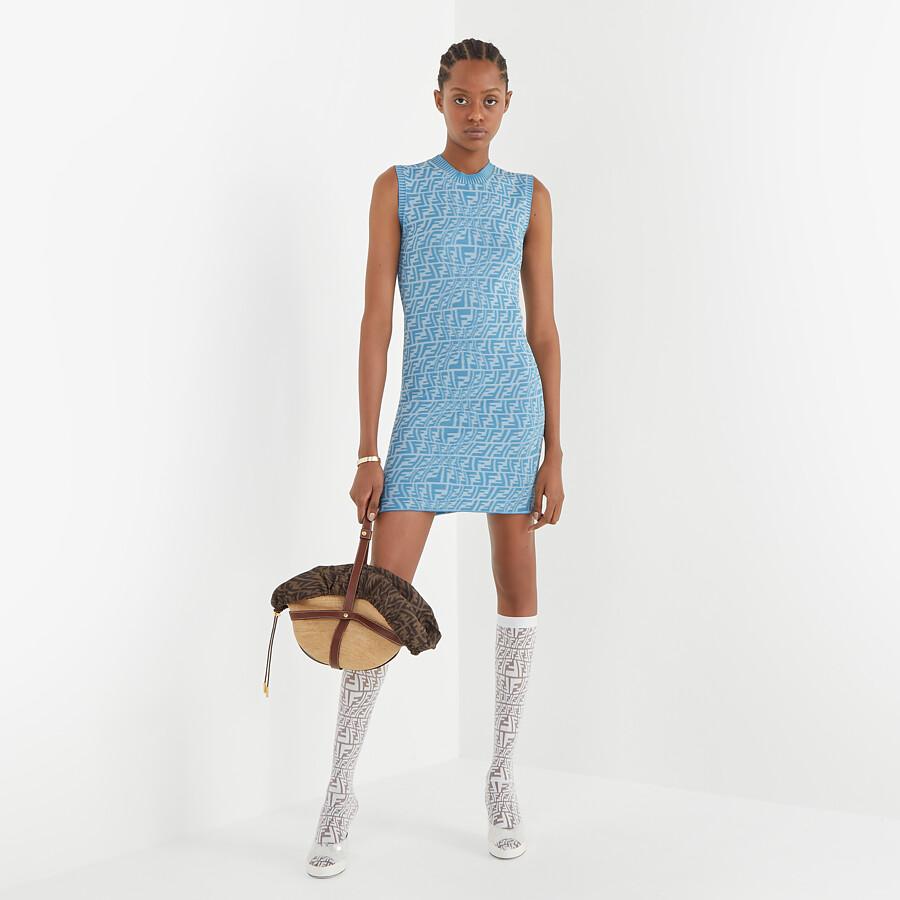 FENDI DRESS - Light blue viscose dress - view 4 detail