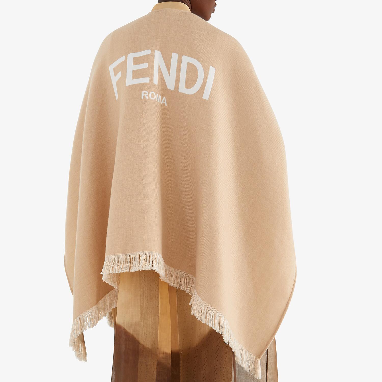 FENDI PONCHO - Beige wool poncho - view 4 detail