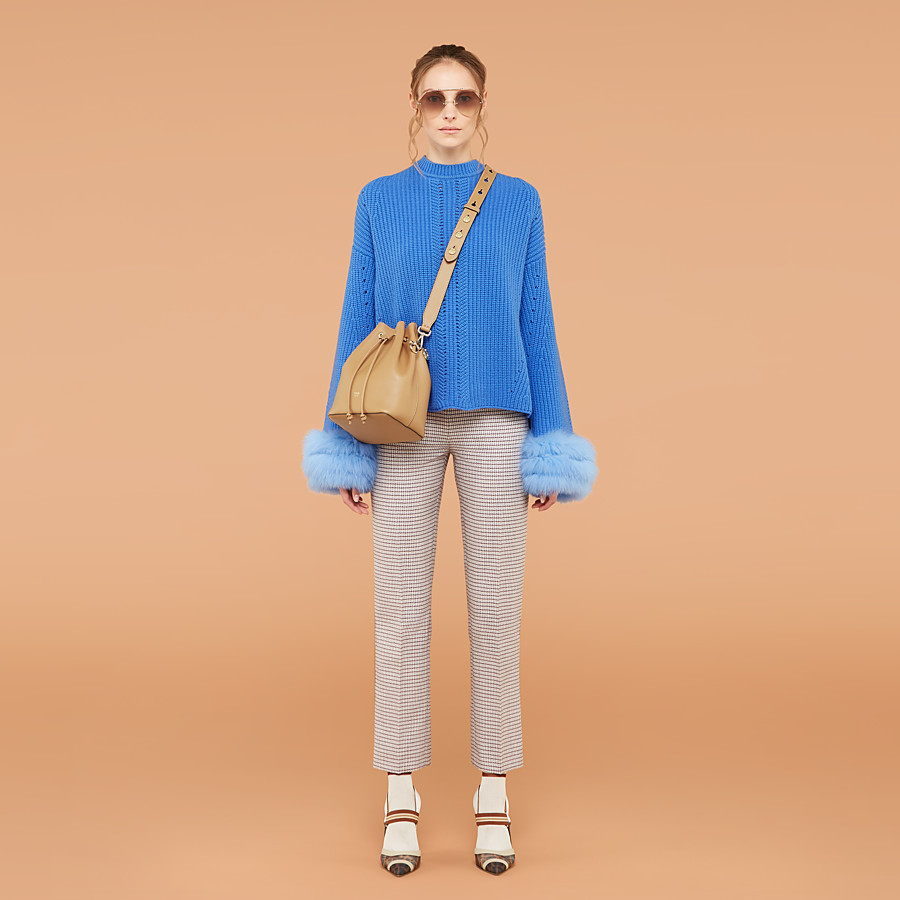 FENDI PULLOVER - Blue cashmere jumper - view 4 detail