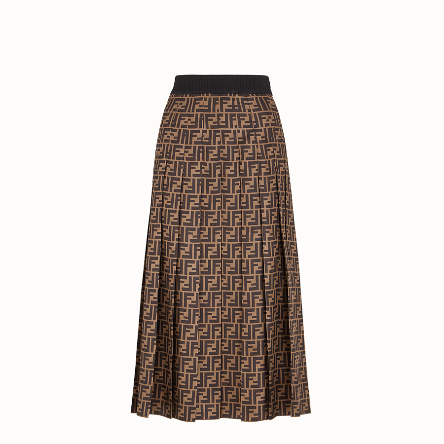 FENDI SKIRT - Brown twill skirt - view 1 detail