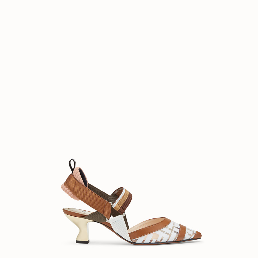 FENDI PUMPS - Slingbacks in PU and white leather - view 1 detail