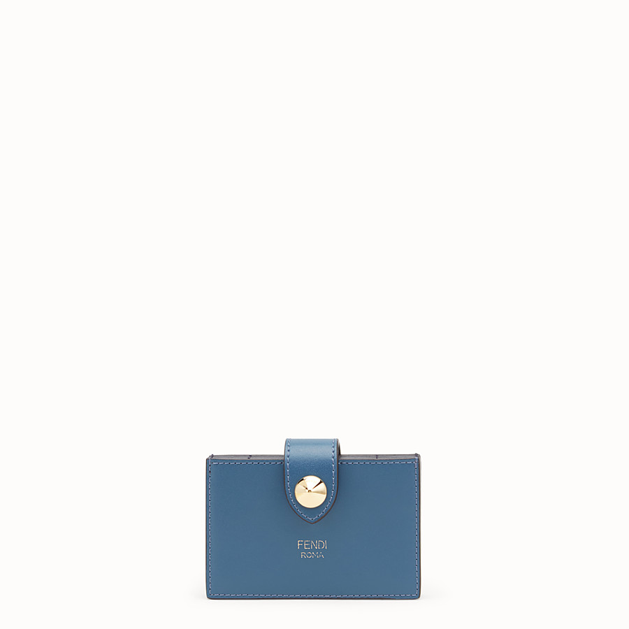 FENDI CARD HOLDER - Blue leather gusseted card holder - view 1 detail