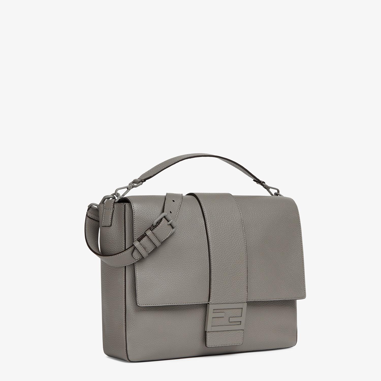 FENDI BAGUETTE MESSENGER BAG LARGE - Light gray leather bag - view 2 detail