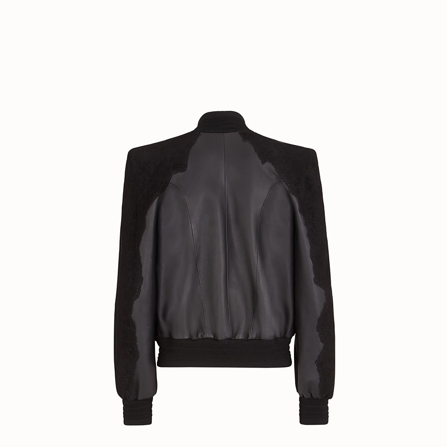 FENDI JACKET - Black leather bomber - view 2 detail