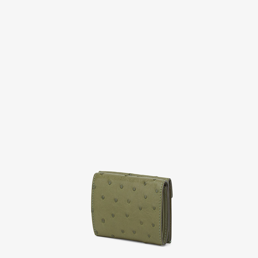 FENDI MICRO TRIFOLD - Wallet in green ostrich leather - view 2 detail