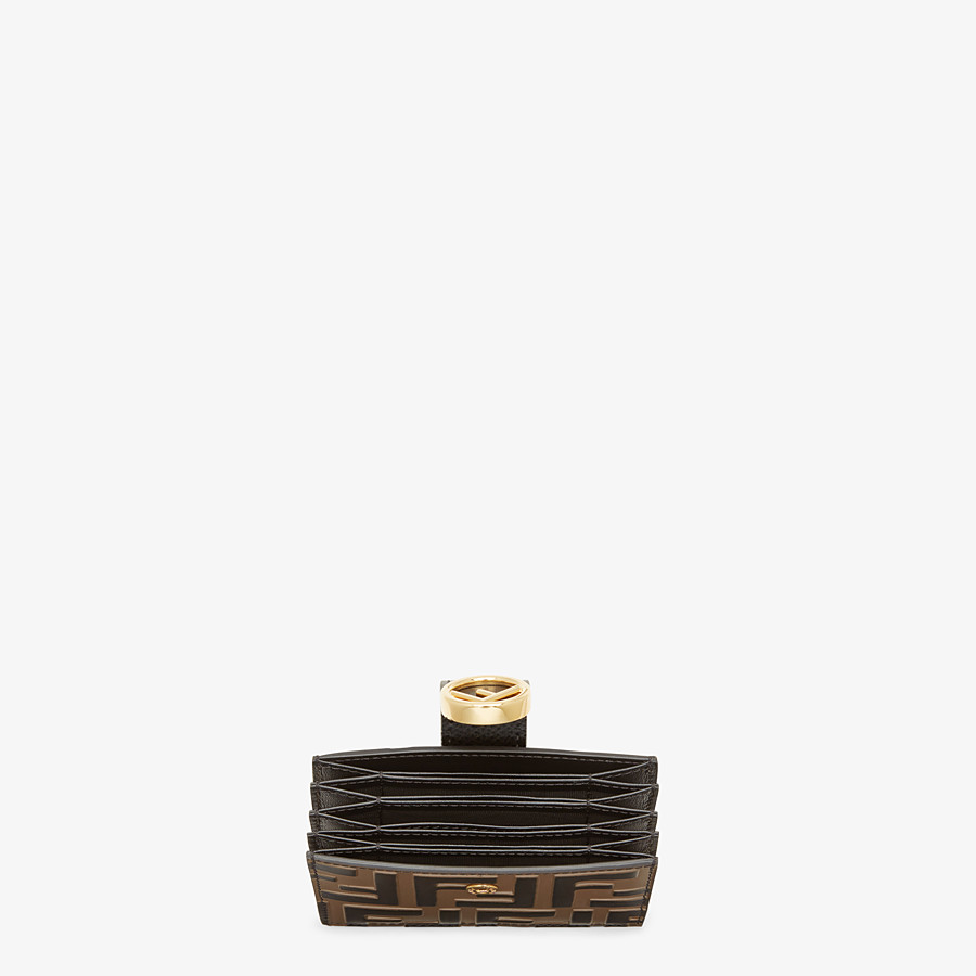 FENDI CARD HOLDER - Black leather gusseted card holder - view 4 detail