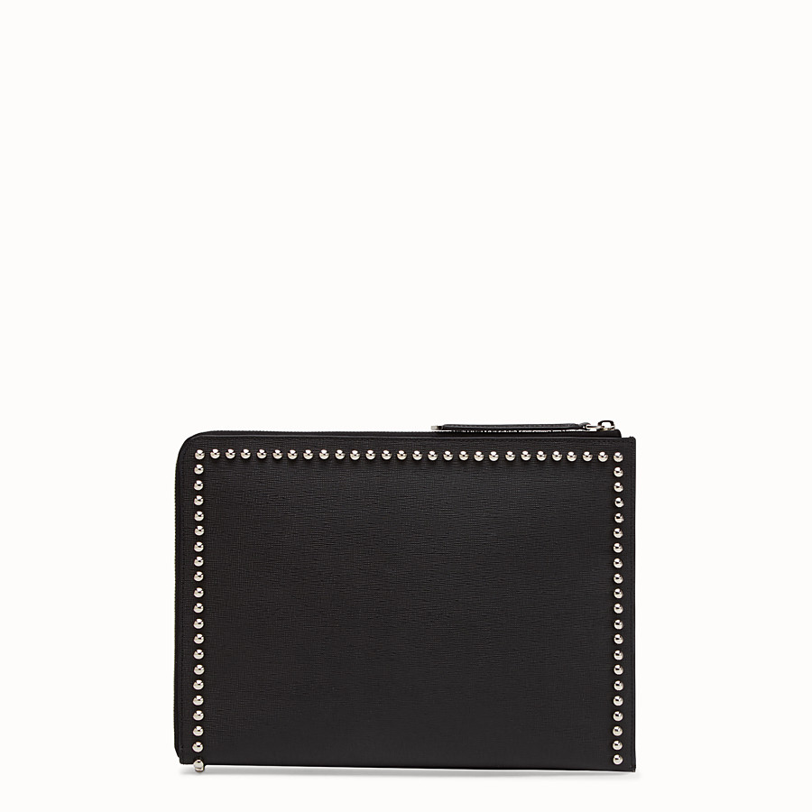 FENDI CLUTCH - in black leather with inlay - view 3 detail