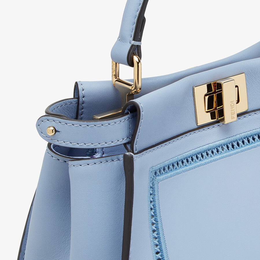 FENDI PEEKABOO ICONIC MINI - Light blue leather bag with embroidery - view 6 detail