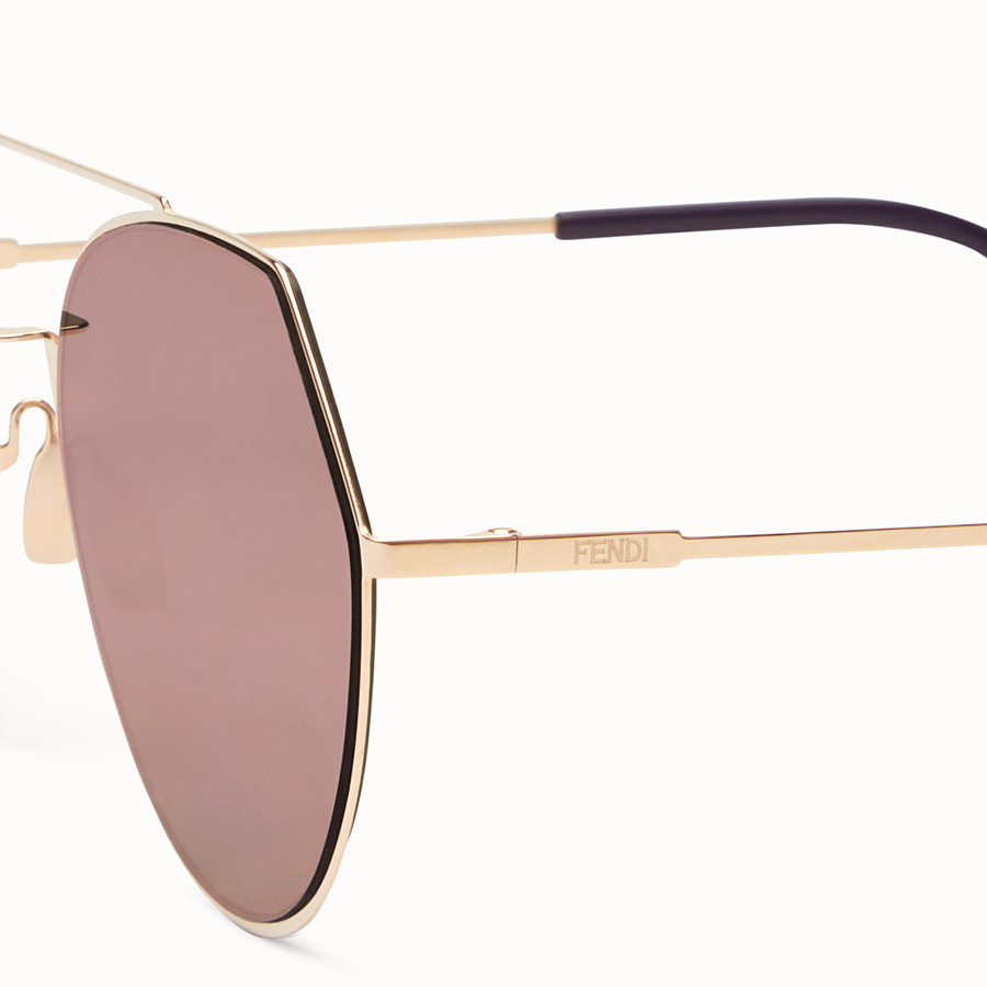 FENDI EYELINE - Gold-colored sunglasses - view 3 detail
