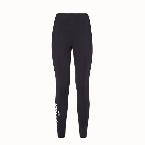 FENDI TROUSERS - Black tech jersey leggings - view 1 small thumbnail