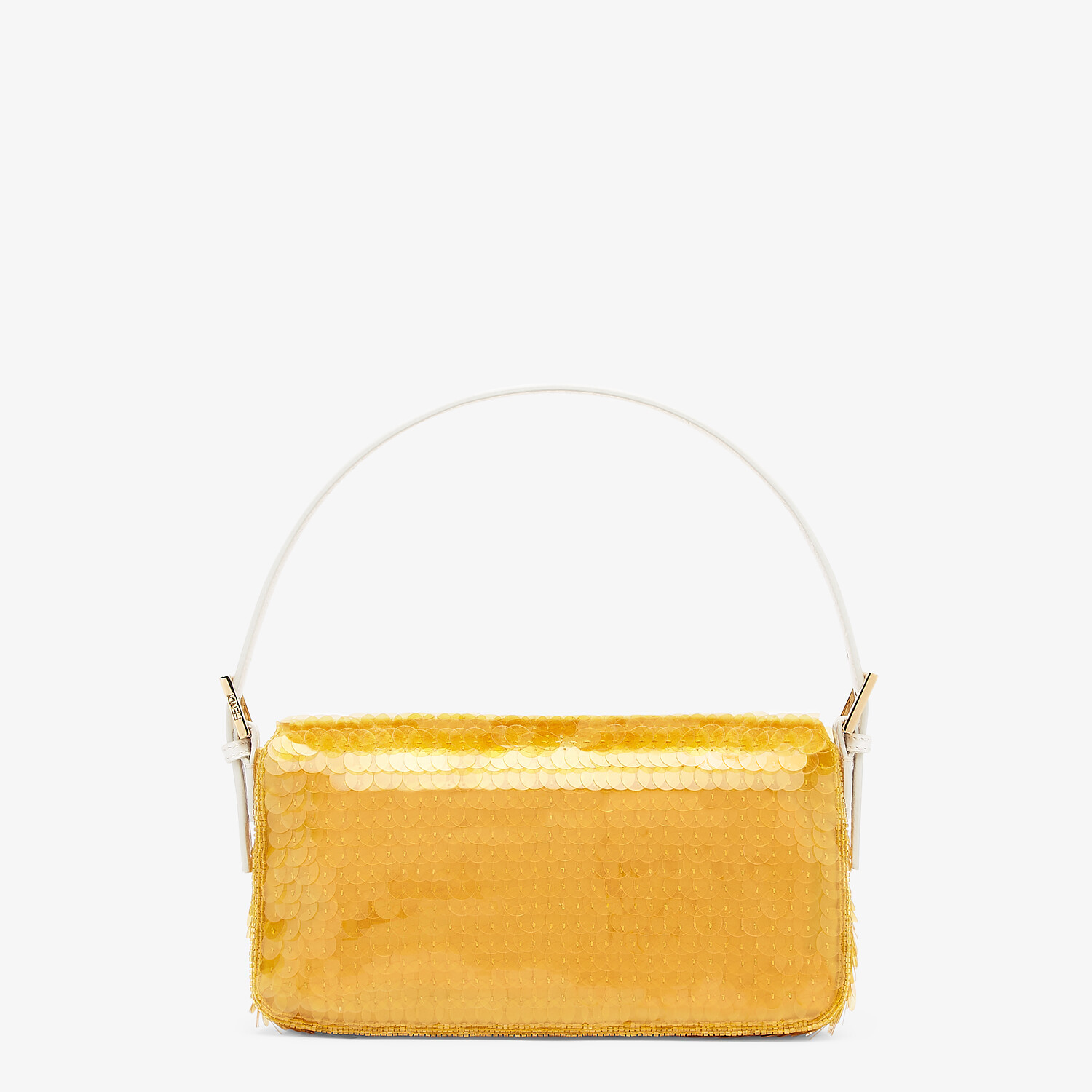 FENDI BAGUETTE 1997 - Yellow satin bag with sequins - view 4 detail